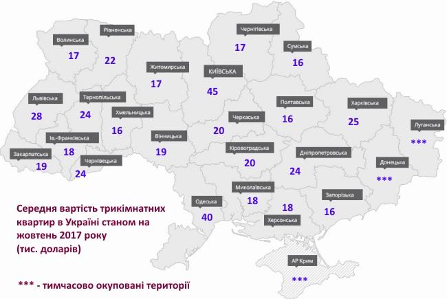 ціни на квартири в Україні в доларах за 2017 рік